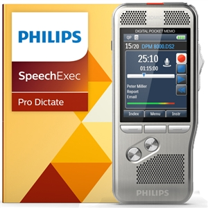 Philips Dpm8000 Digital Pocket Memo With Speechexec Pro 10